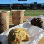 Coffee & muffins from Montana Coffee Traders being eaten at the train station