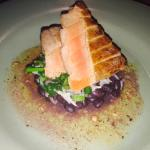 Yellow fin tuna with rice and black beans