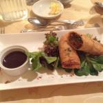 Delicious pulled pork spring rolls