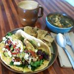 Chicken Pita with Kale and organic white bean soup