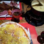 fondue with charcuterie, hawaiian pizza n jug of red vino