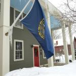 New Hampshire flag on front of building