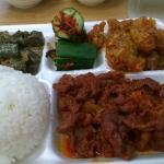 Ala carte choice available.  Shown are eggplant, cucumber kimchi, Korean Chicken, and spicy pork