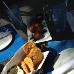 chips with crab dip and conch fritters