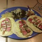Delicious ahi tuna tacos