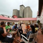 groups in discusion on the spacious Terrace