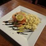 Fresh salmon with scrambled eggs