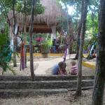 View of the central palapa from the path that leads to the yoga studio