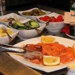 Breakfast buffet with smoked salmon