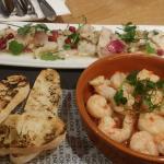 Sea Bass Ceviche, Garlic, Chilli & Lemon King Prawns and crystal bread