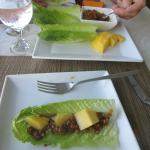 One of the lettuce wraps I made.  Comes with fresh mango!