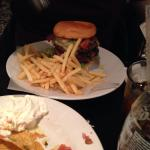 Double beef burger and chips