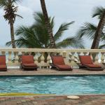 View from the tables of the pool and the ocean beyond