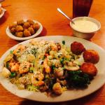 Shrimp fiesta, fried okra and cheese grits