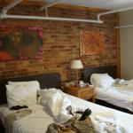 Our room - love the exposed brick.