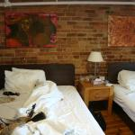 Our room - again, love the exposed brick.