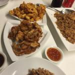 Seafood rice, soft shell crab, crispy squid - all delicious