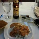 Butter chicken and Taj beer