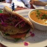 Chickpea pita with Thai soup. Great lunch!