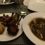 Tandoori mouton, chicken, fish and Chinese chicken soup