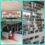 Powell's Dairy Freeze an old style drive up ice cream and fast food stop and local favorite!