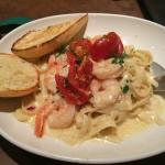 Fettuccine Alfredo with prawns