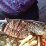 Black bass pan fried at Mirador Atitlan Restaurante in Panajachel