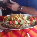 Pan fried black bass dinner in Panajachel