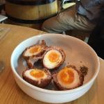Hot scotch eggs with runny yolks.  How mouth watering is that?
