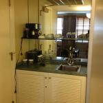 Small service area with fridge underneath