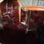 Pile of dust on the pub dining room floor