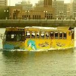 This is mad isn't it ... A water/land bus.  Love Bur Dubai. The real Dubai.