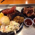 Pulled pork, pork ribs, brisket, sausage, slaw, Mac, jalapeño cornbread for $16