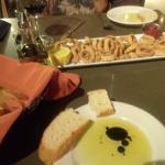 Calamari and bread and oil dip