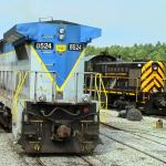 Diesel engine train turning around at North Creek Station all aboard