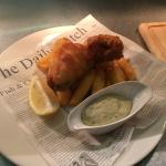 Cider battered cod loin chip minted peas