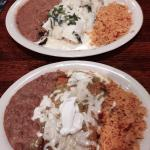 Top is Enchilada Poblano chicken & steak  bottom plate is Enchilada Verde beef! Very good!