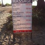 Beach massage pricing....good