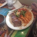 Mom's steak w/shrimp skewer