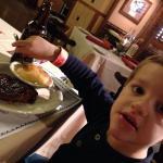 The kids 4 oz steak with cinnamon applesauce . ($6) The kids steak was better than mine! ($18 fo
