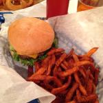 Special burger of the week (Texas Burger) with Sweet Potato Fries
