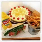Salt beef special followed by lemon cheesecake with a ginger snap biscuit base