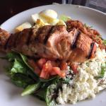 The grilled salmon salad is excellent here!