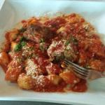 Gnocchi with marinara and meatballs