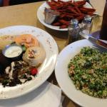 Sweet potato fries, Tabbouleh, and Mezze Sampler