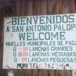 The welcome sign at San Antonio Palopo