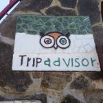Ceramic TripAdvisor sign at San Antonio Palopo