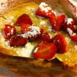 Dutch Baby Pancake with fresh strawberries