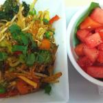 watermelon salad and Quinoa stirfry