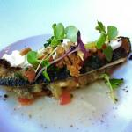 grilled fish and eggplant (123990312)